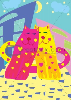 Valentine card with cats
