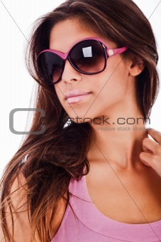 attractive young woman wearing sunglasses