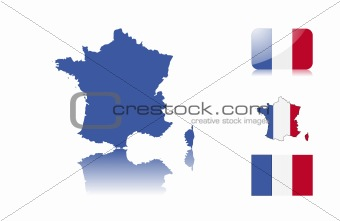 French map and flags