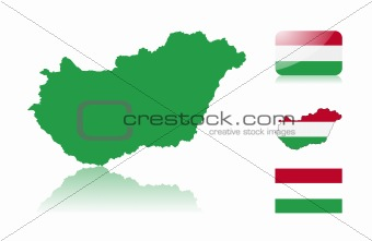 Hungarian map and flags
