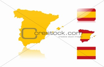 Spanish map and flags