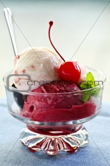 Ice cream in dish