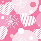 Seamless pattern with flowers, hearts and circles