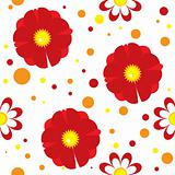 Seamless pattern with abstract flowers and spots