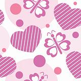 Valentine seamless pattern with hearts, butterflies and circles