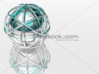 3d sphere in silver framework