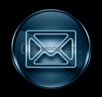 postal envelope icon dark blue, isolated on black background