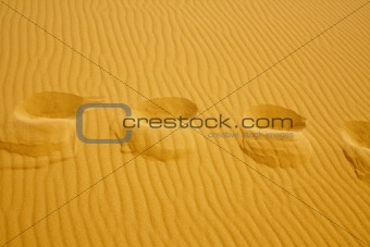 footsteps on the texture of sand dunes