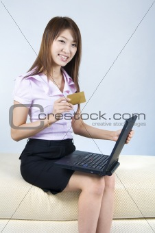 asian business women online shopping