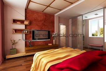 Image 2459521: modern style bedroom interior 3d renderi