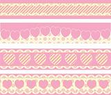 Vector Victorian Borders With Eyelet Hearts and Stripes