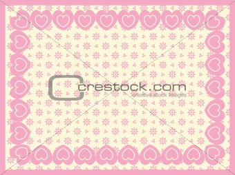 Vector Victorian Eyelet Copy Space Background with Border of Hearts