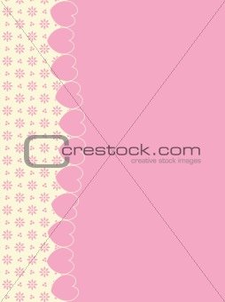 Vector Background With Side Victorian Trim of Hearts and Eyelet