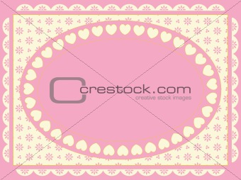 Oval Vector Frame on Victorian Eyelet Background