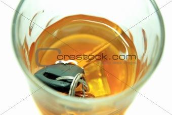 car keys in whiskey tumbler
