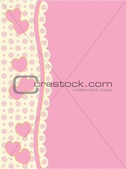 Vector Victorian Background Copy Space With Side Heart and Eyelet Trim