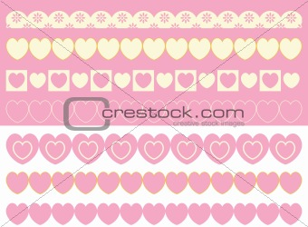Vector Brush Borders of Eyelet and Hearts