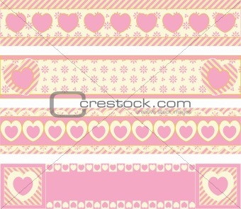 Vector Borders With Victorian Eyelet Hearts and Stripes