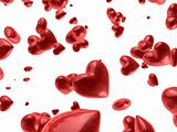 red valentine`s hearts