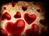 valentine`s hearts - grunge style