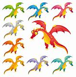 Set of colored dragons.
