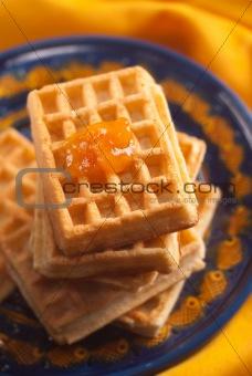apricot jam on Belgian waffle