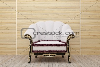 Armchair in the wooden room
