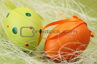 Green and orange Easter egg