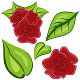 Cartoon Rose Leaf Icon Set