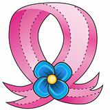 Pink Ribbon Blue Flower