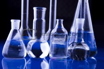 Blue chemistry vials