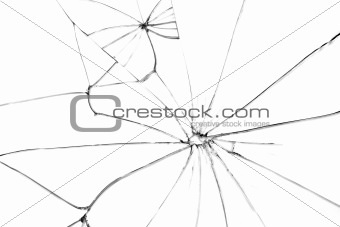 Broken glass with black cracks