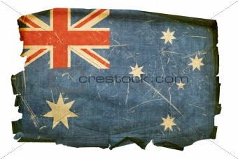 Australia Flag old, isolated on white background.