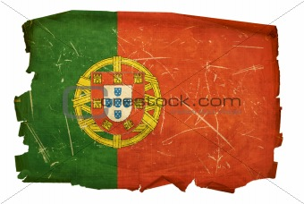 Portugal Flag old, isolated on white background.