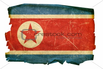Northern Korea Flag old, isolated on white background.