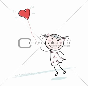 Small girl with heart shaped balloon