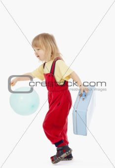 boy with long blond hair and suitcase isolated on white