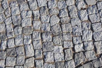 Grey cobblestone road