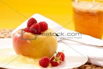 apple and raspberries