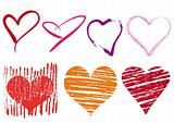 scribble hearts set, vector