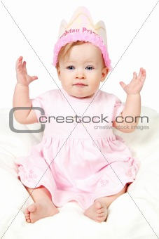 Baby Girl With Birthday Hat and hand on Air