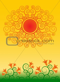 abstract sun and flowers