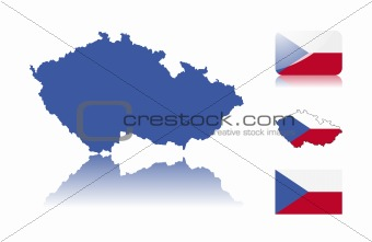 Czech map and flags
