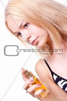 beautiful women in a dress with perfume