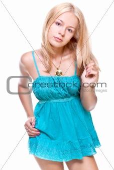 beautiful women in a Blue dress