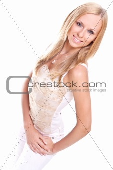 beautiful woman in a white clothing