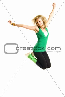 Beautiful young woman jumping
