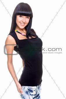 beautiful woman in a black T-shirt
