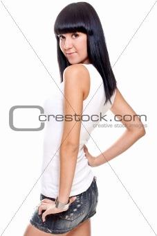 beautiful woman in a white T-shirt