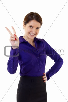 attractive businesswoman victory sign